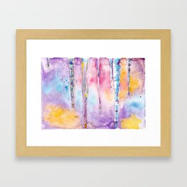 Spring icicle - abstract watercolor background Framed Art Print