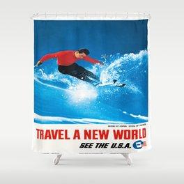 Vintage poster - Aspen Shower Curtain