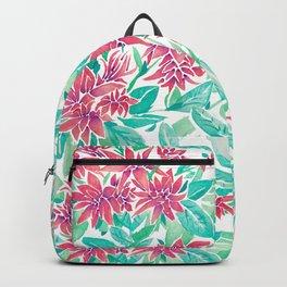 Ixora Hybrid Crimson Star Watercolor Pattern Backpack