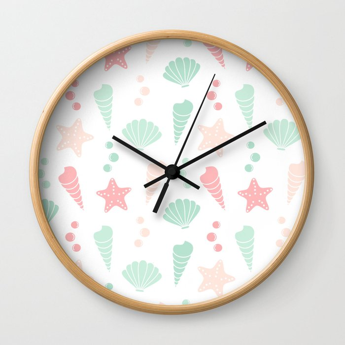 cute colorful summer pattern with seashells and starfishes Wall Clock