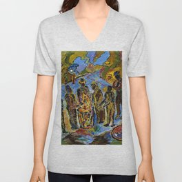 African American Masterpiece 'Can Fire in the Park' by Beauford Delaney Unisex V-Neck