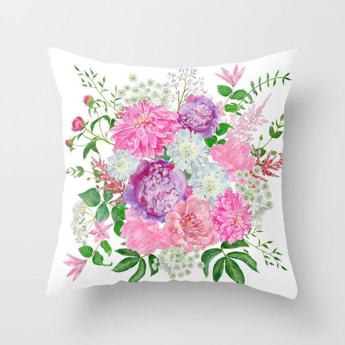 Pink Bouquet Of Garden Flowers Throw Pillow By Helenaart Society6