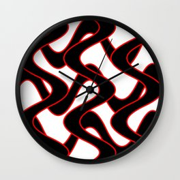 Curvilinear in red and black Wall Clock