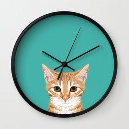 Tabby orange cat head cat breed gifts cute tabby cats must haves Wall Clock