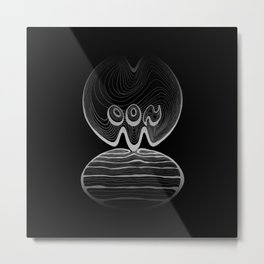 Moon Typography - Black and greys Metal Print