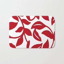 LEAF PALM VINE IN RED AND WHITE PATTERN Bath Mat