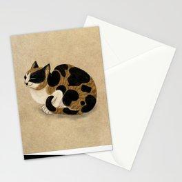 Minhwa: Dozing tricolor cat (Korean traditional/folk art) Stationery Cards