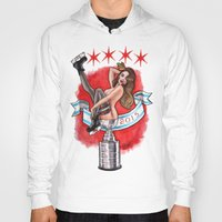 blackhawks Hoodies featuring Chicago Cup win 2015 pin up girl by Carla Wyzgala by carlations: Carla Wyzgala illustrations