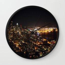 Seattle Night Lights - Great Wheel Wall Clock