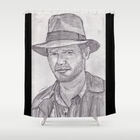 indiana Shower Curtains featuring Indiana by jamestomgray
