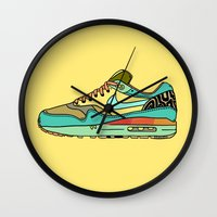 nike Wall Clocks featuring nike 001 by Marcelo Romero