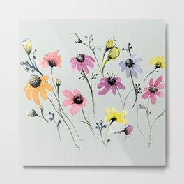 Grey floral garden Metal Print
