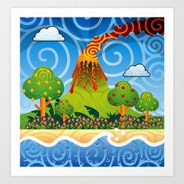 Tropical Volcano Eruption Art Print