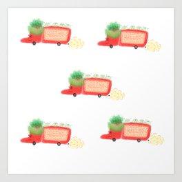 Red yeast pork truck Art Print