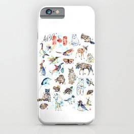 Canadian Wildlife ABCs Watercolor Painting iPhone Case