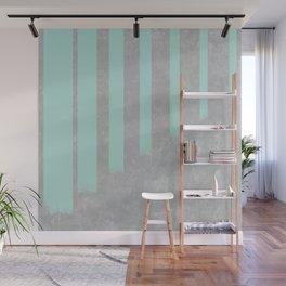Soft cyan stripes on concrete Wall Mural