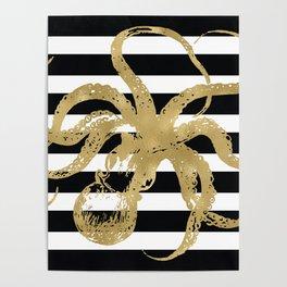Gold Octopus on Black & White Stripes Poster