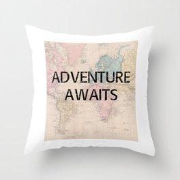 Adventure Awaits Map Print Throw Pillow