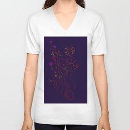 Ethno Folk REDBLUE Embroidery Unisex V-Neck