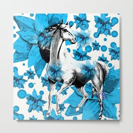 HORSE AND FLOWERS Metal Print
