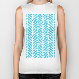Simple Teal and white handrawn chevron - horizontal - for your summer Biker Tank