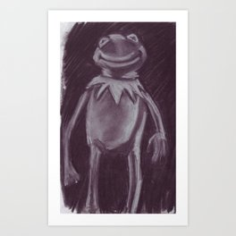 Kermit the frog in charcoal. Art Print