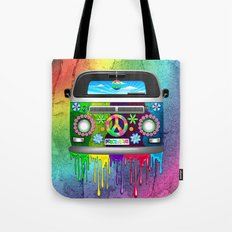 Hippie Bus Van Dripping Rainbow Paint Tote Bag