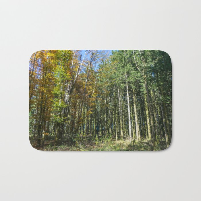 Colorful French forest Bath Mat