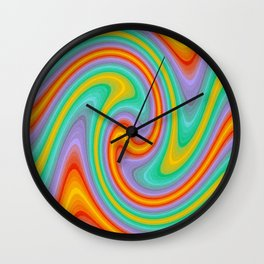 Colorful Currly Wirrly Stripes Wall Clock
