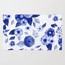 blue and white watercolor floral Rug