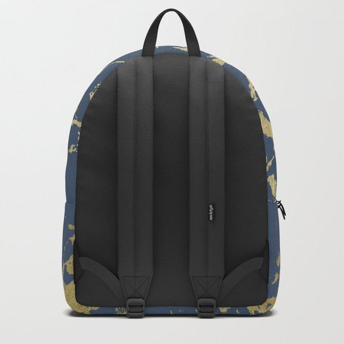 Kintsugi Ceramic Gold on Indigo Blue Backpack