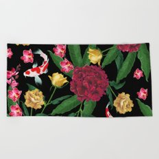 Black Tropical Beach Towel