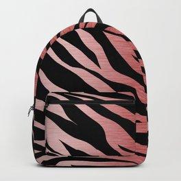 Rose Gold Zebra Print on Black Backpack