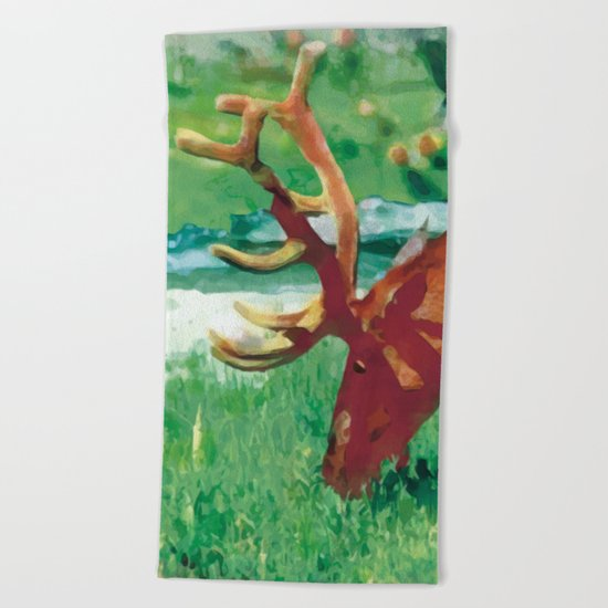 Deer on the edge of the forest Beach Towel