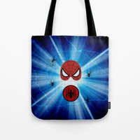 spider man Tote Bags featuring Spider Man by haroulita