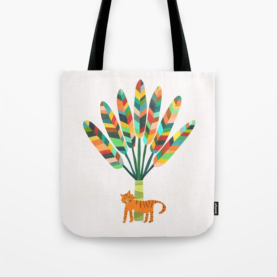 Whimsical travelers palm with tiger by budikwan