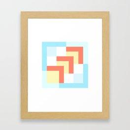 Squares Cyan + Burnt Umber Framed Art Print