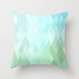 Shades of  Blue Diamonds Abstract Throw Pillow