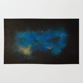 """""""Hello, Is There Anybody There"""" Blue Galaxy Rug"""