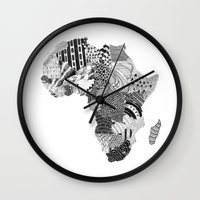 africa Wall Clocks featuring Africa by Kacenka