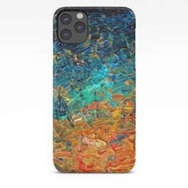 ETERNAL TIDE 2 Rainbow Ombre Ocean Waves Abstract Acrylic Painting Summer Colorful Beach Blue Orange iPhone Case