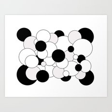 Bubbles - black, gray and white Art Print
