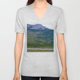 Bull Elk with his Lady Friends on the Athabasca River in Jasper National Park, Canada Unisex V-Neck