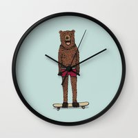 skateboard Wall Clocks featuring Bear + Skateboard by Lara Trimming