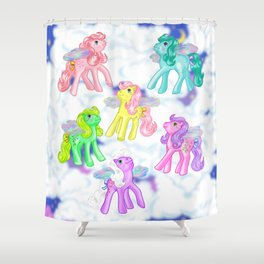 g1 my little pony Flutter ponies backcard inspired Shower Curtain
