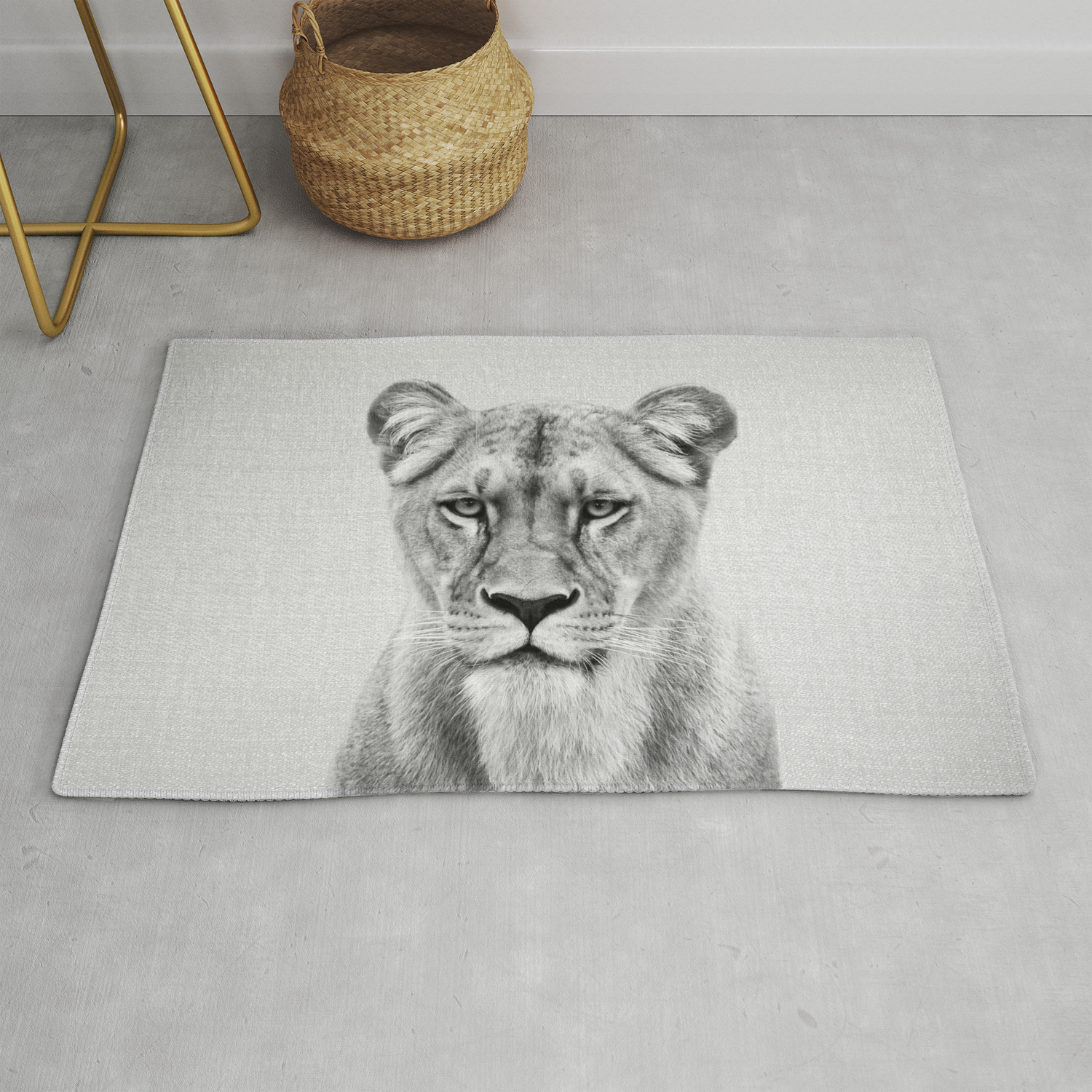 Lioness Black White Rug By Galdesign Society6