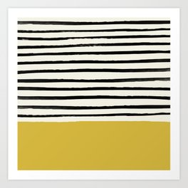 Mustard Yellow & Stripes Art Print