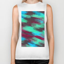 green blue red and brown painting texture abstract background Biker Tank