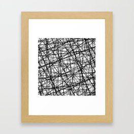 Geometric Collision - Abstract black and white Framed Art Print