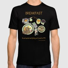 Breakfast, the Most Important Meal of the Day SMALL Black Mens Fitted Tee